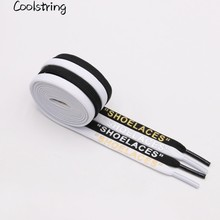 Coolstring 7mm Handmade Printing SHOELACES Custom Off White Shoelaces Inspired Flat Laces Black With Gold Silver Letters