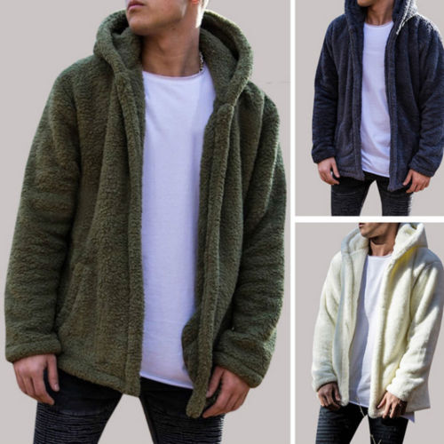 Men Winter Warm Teddy Bear Long Sleeve Fleece Jackets Oversize Outwear Coats With Pockets