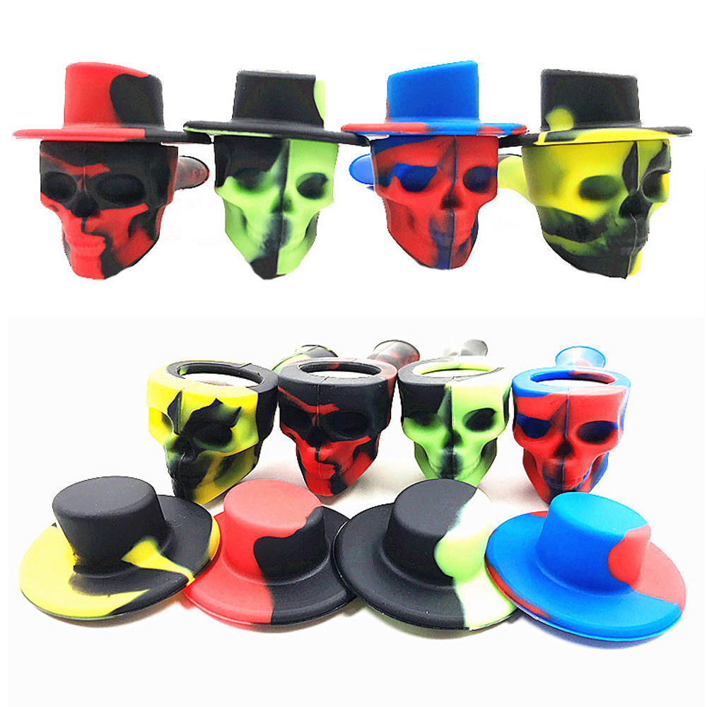 Top Quality Portable Silicone Tobacco Smoking Pipes Fashion Coloful Design Skull Smoke Pipe Small Tobacco With Caps Bowl 2