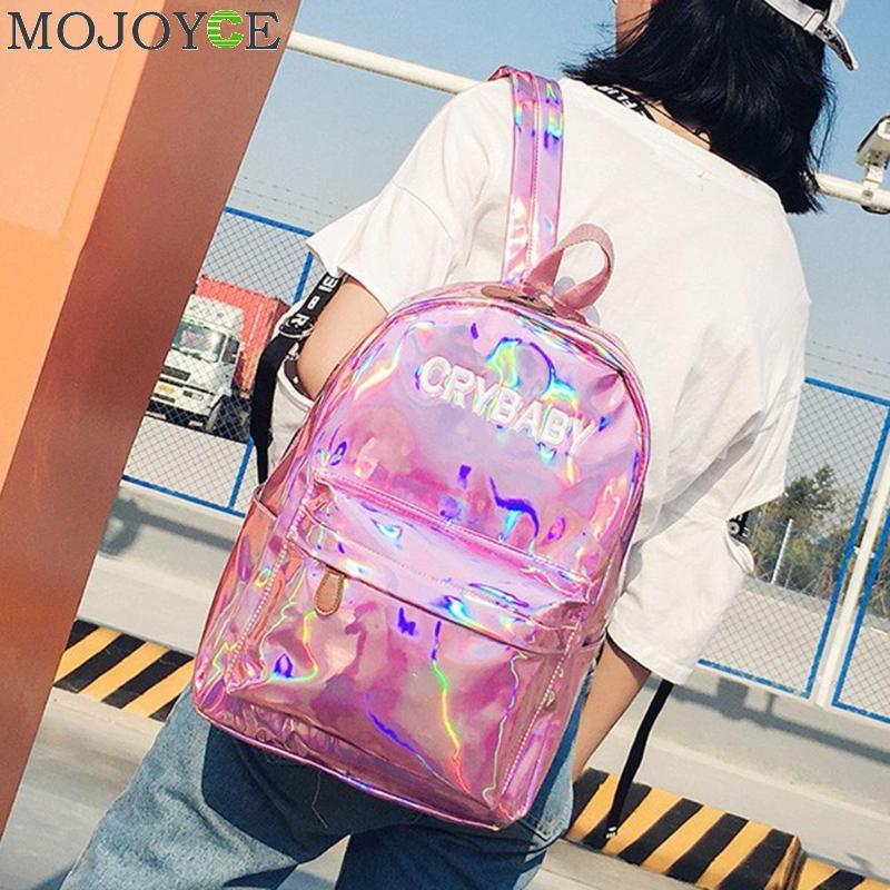 Street Hip Holographic Women Backpack Letters Laser Hologram Girls PU Leather Shoulder School Bag Rucksack Mochila Feminina