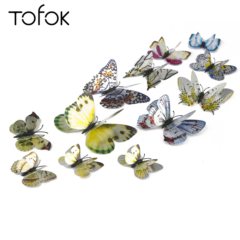 Tofok 12PCS 3D Double-deck Butterfly Wall Stickers PVC Art Wall Decals Home Decoration Living Room Child Bedroom Wall Decor