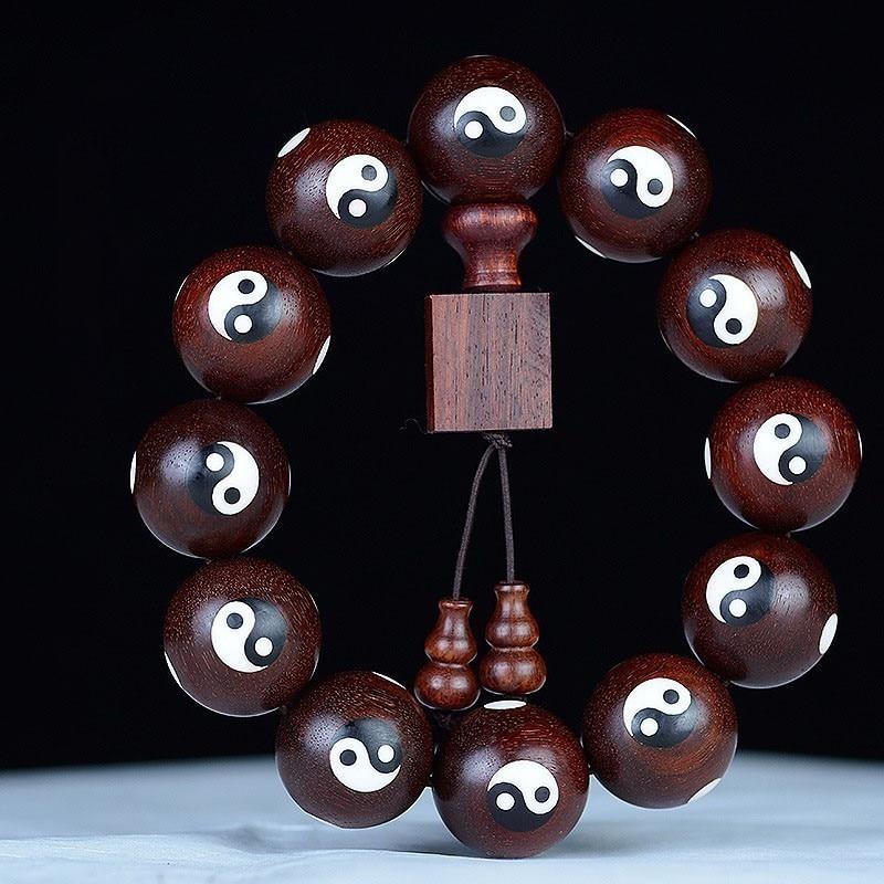 AURAREIKI Lobular Rosewood Natural Wooden Bracelets Natural Engraving Yoga Buddhist Mala Wooden Beads Buddhist Amulet Unisex