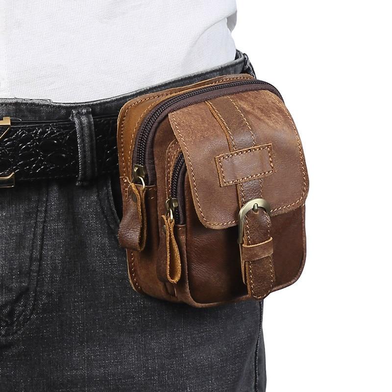 Men Genuine Leather Fanny Waist Bag Cell/Mobile Phone Pocket S713-40 Belt Bum Pouch Pack Vintage Hip Bag Travel Waist Pack