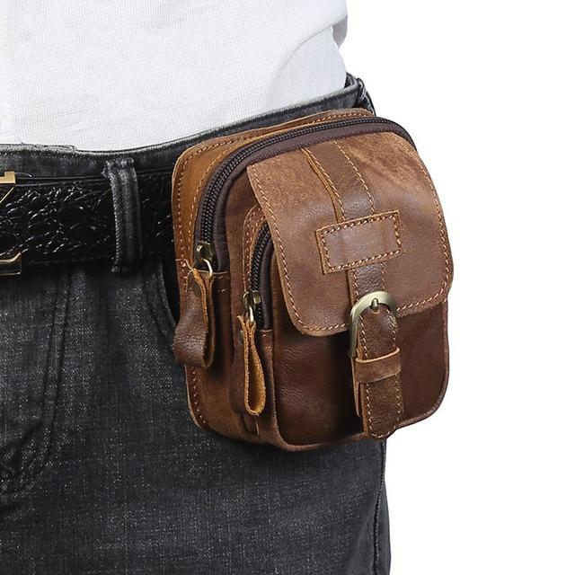 9da8d5776afd2 Men Genuine Leather Fanny Waist Bag Cell/Mobile Phone Pocket S713-40 Belt  Bum Pouch Pack Vintage Hip Bag Travel Waist Pack