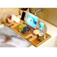 1Pc Wooden Handmade Bath Tray Bathroom Shelves Apply For Pad/Book/Tablet Home Bathrooms Accessories Bathtub Rack Stand Holder(China)