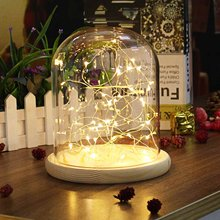 LED Flower Glass Globe Box Bottles Night Light Bedside Lamp Holder Gift Cover Base Wooden Glass Vases LED Lampshade Home Decor(China)