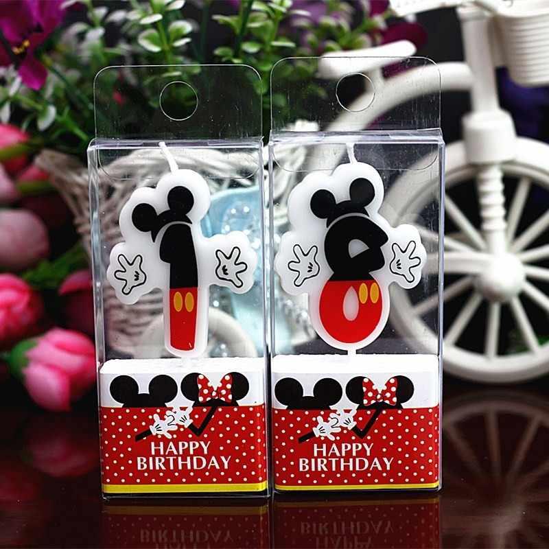 Novo Número 0-9 Velas de Aniversário Dos Desenhos Animados Mickey Minnie Mouse Feliz Aniversário Vela Bolo de Coco Do Queque Decoração Do Partido Suprimentos