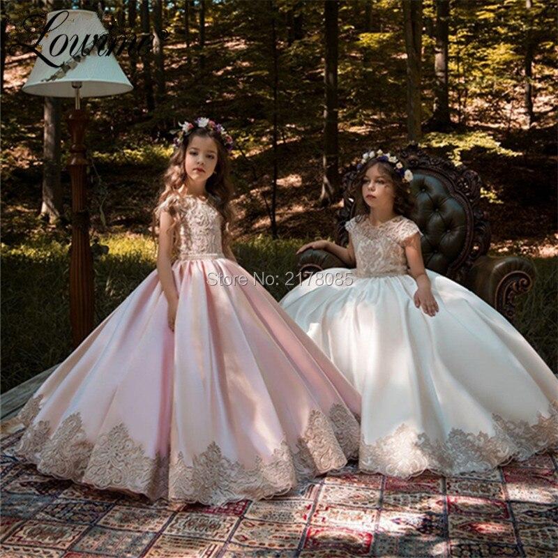 Lovely Pink   Flower     Girl     Dresses   For Weddings 2019 Communion   Dresses   Applique Kids Evening   Dresses   Custom   Girls   Pageant   Dress