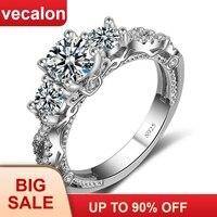 Распродажа 91% скидка Vecalon винтажное обручальное кольцо для женщин AAAAA Cz Кольцо 925 пробы серебряные ювелирные изделия Женское кольцо