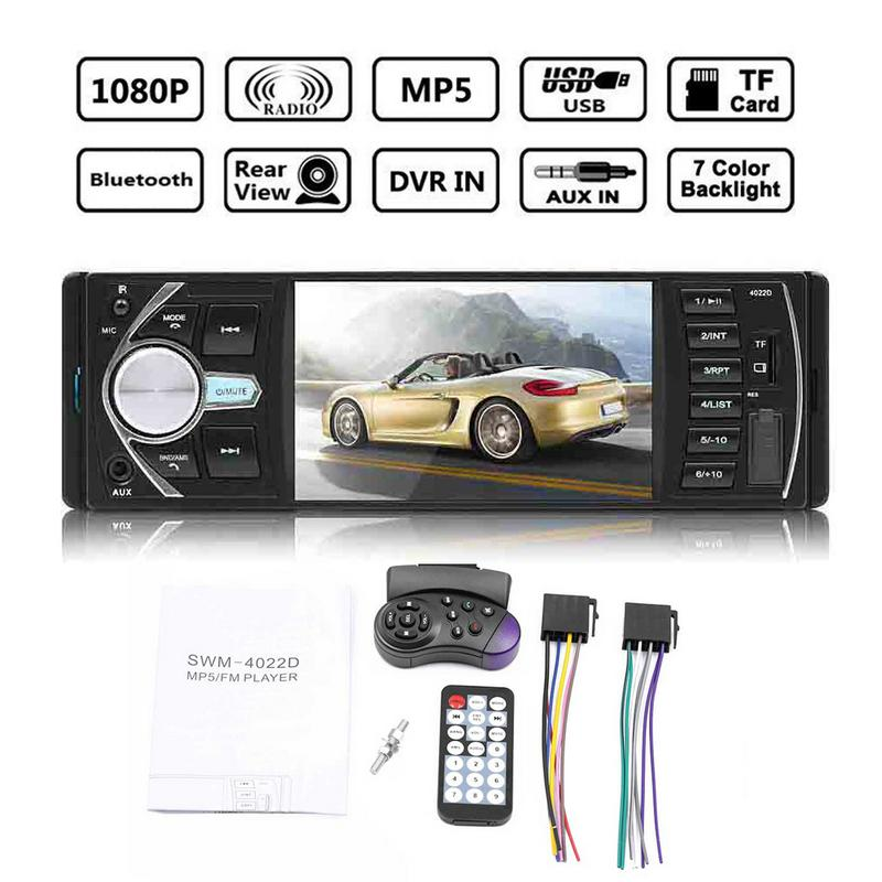 4.1 Double 1 DIN Car Radio Car MP3 Player MP5 FM Bluetooth Touch Screen Stereo Radio Camera Multimedia Video Player image