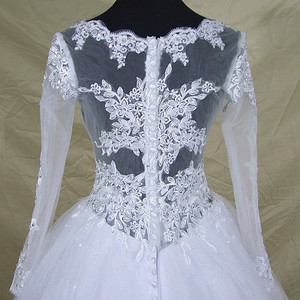 Image 5 - Robe De mariée en dentelle à manches longues col en V, robe De mariée moderne élégante et arabe avec des images réelles, 2020