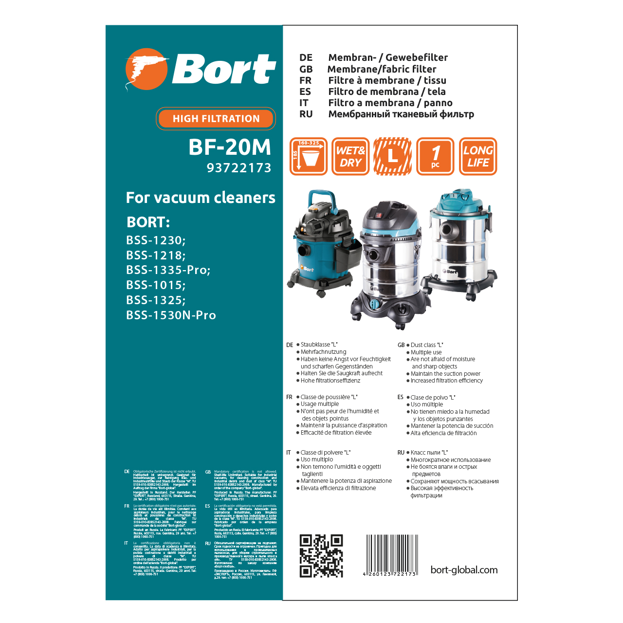 Filter for vacuum cleaner fabric Bort BF-20M