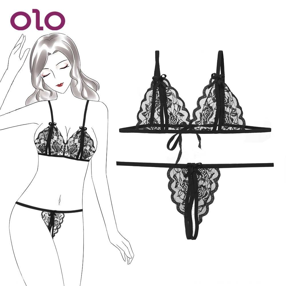 OLO Chest Bra + T Pants Sexy Lingerie Set Sex Erotic Lingerie Lace Bikini Tenue Sexy Femme Erotique Gather