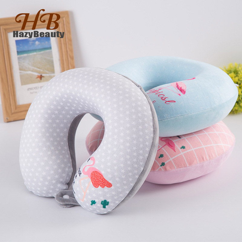 3 Colors U-shape Slow Rebound Memory Foam Neck Pillows for Women Airplane Trip Animal Pink Flamingos Beauty Office Nap Headrest image