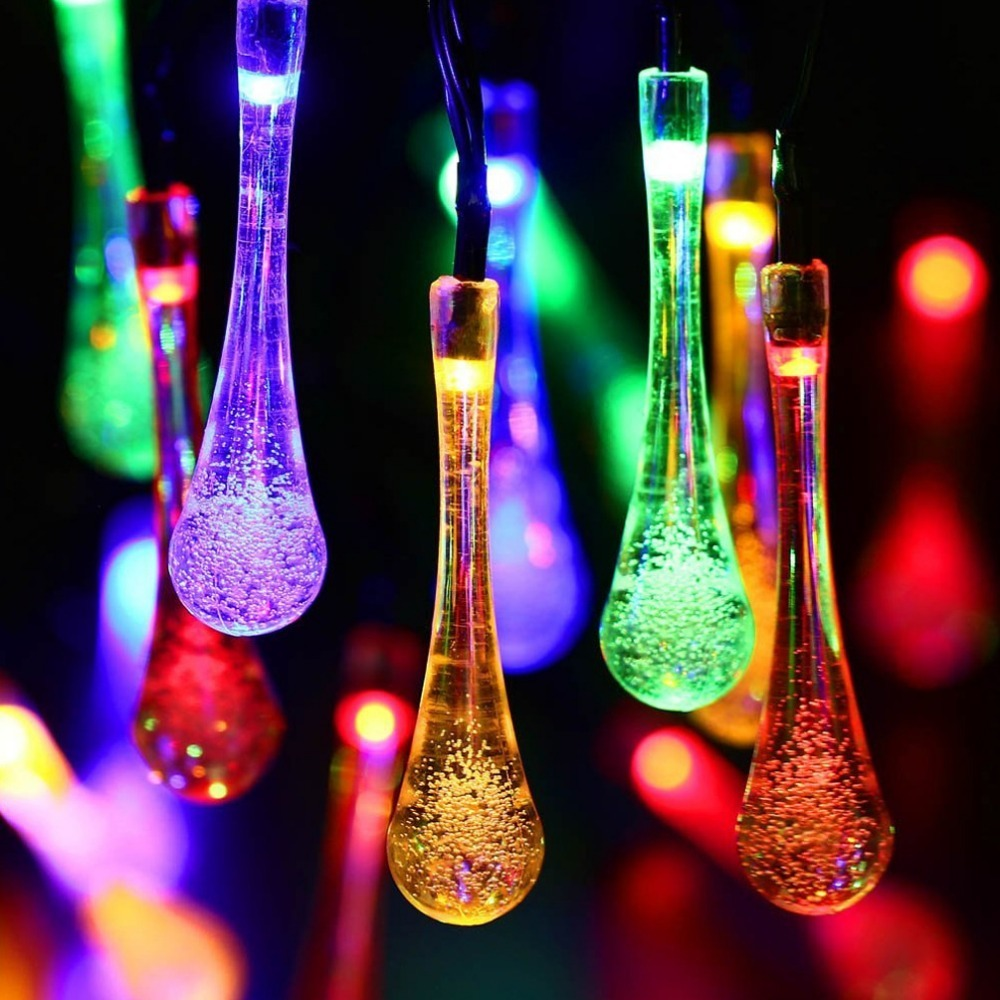 Outdoor Christmas Lights solar lamp backyard lawn and garden party decoration water drop shape 30 led lights led para festa