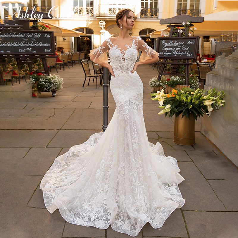 Ashley Carol Romantic Mermaid Wedding Dress 2019 Invisible Neckline Flare Sleeve Vintage Illusion Bride Gown Robe