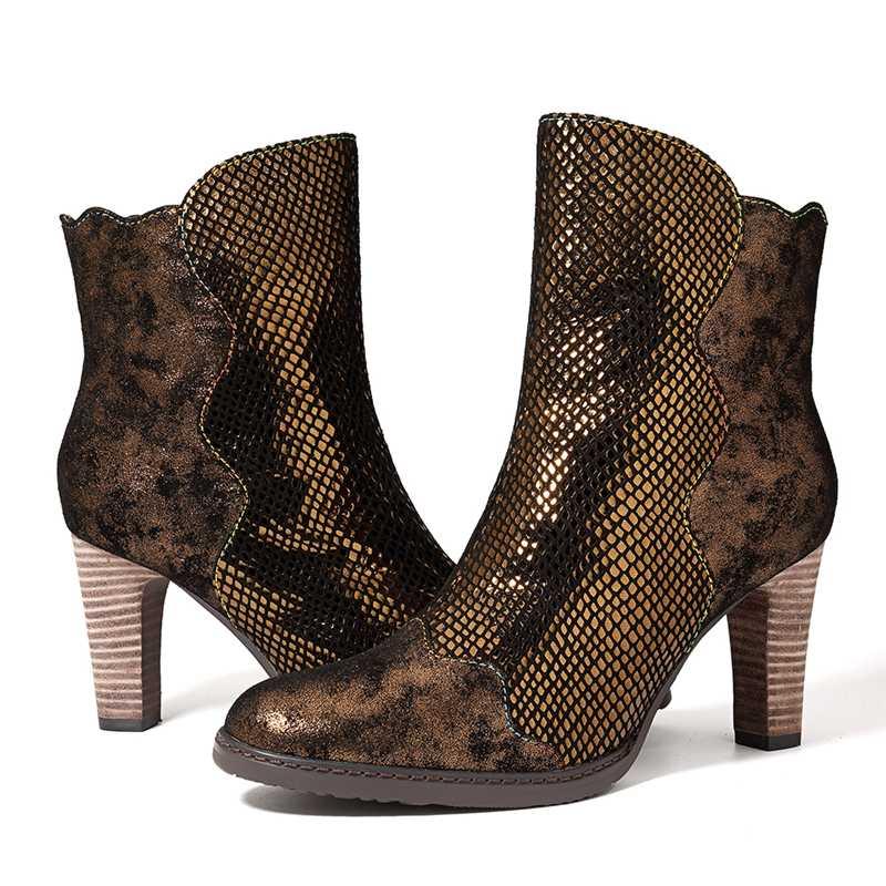 Mujeres Tamaño Zapatos Botas Tacón Retro marrón Cremallera Las Socofy Azul De Cuero Cm Invierno Otoño Alto Mujer Tobillo Genuino 8 Vintage xczYwBcqS
