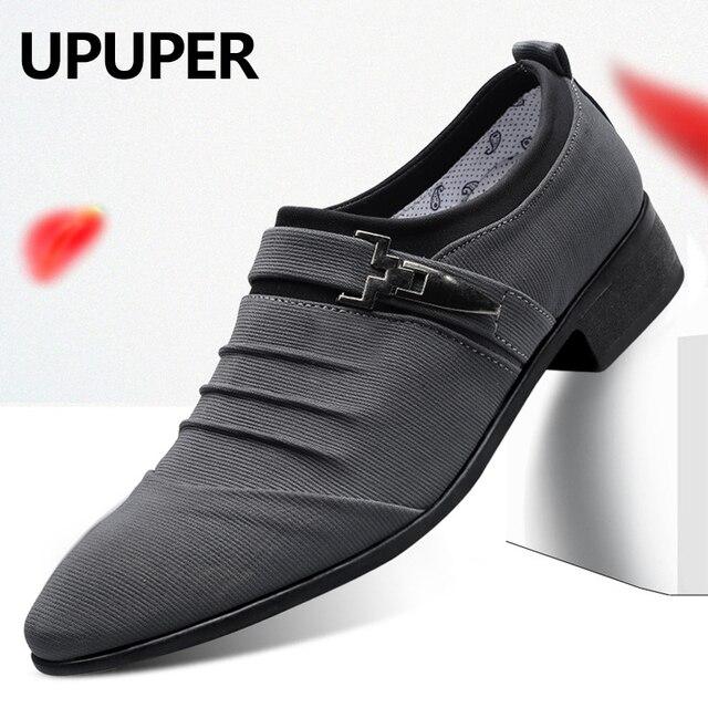 UPUPER/большие размеры 38 47; Свадебные туфли для мужчин; 2020; Модные парусиновые модельные туфли с острым носком; Мужские черные оксфорды без шнуровки; Официальная мужская обувь
