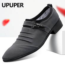 UPUPER Big Size 38 47 buty ślubne mężczyźni 2020 moda Pointed Toe Canvas Dress Shoes mężczyźni czarny Slip On oksfordzie elegancki facet buty