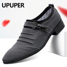 UPUPER büyük boy 38 47 düğün ayakkabı erkekler 2020 moda sivri burun kanvas elbise ayakkabı erkekler siyah üzerinde kayma oxfords resmi erkek ayakkabıları