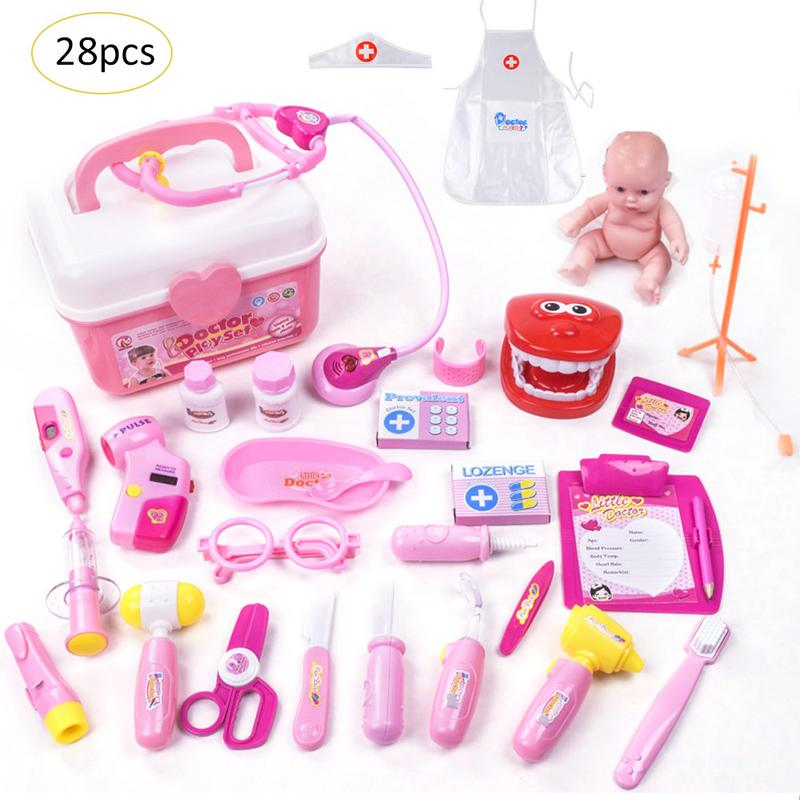 28Pcs Kids Toys Doctor Set Baby Suitcases Medical Kit Play H