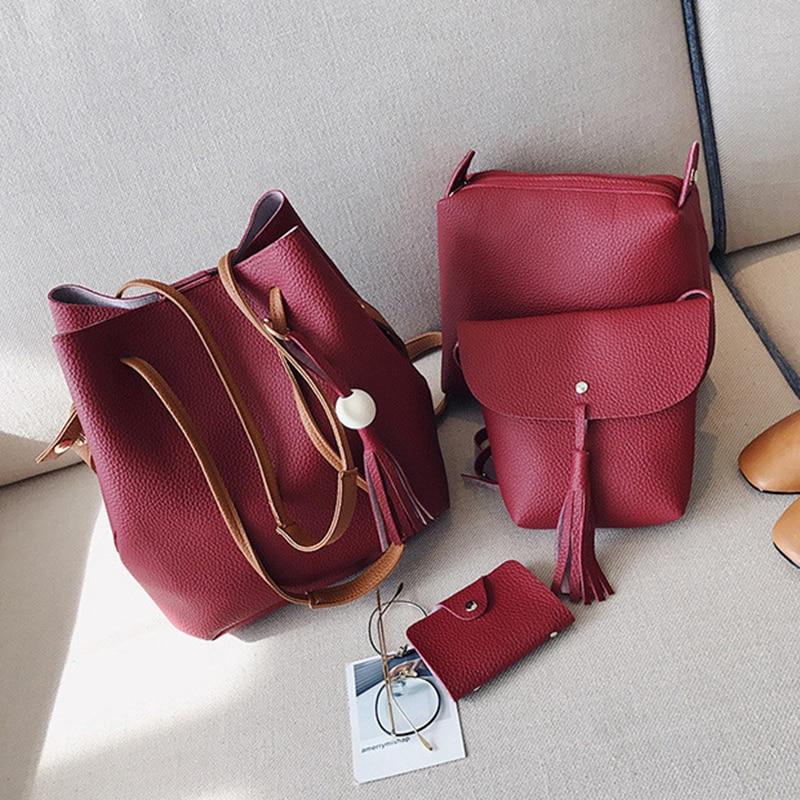 4pcs/set Women PU Leather Handbag Shoulder Bag Tote Purse Bag Set Fashion Messenger Satchel Clutch Ladies Composite Bag messenger bag