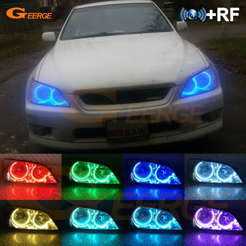For LEXUS IS200 IS300 1998 2005 headlight Excellent RF Bluetooth Controller Multi Color Ultra bright RGB LED Angel Eyes kit