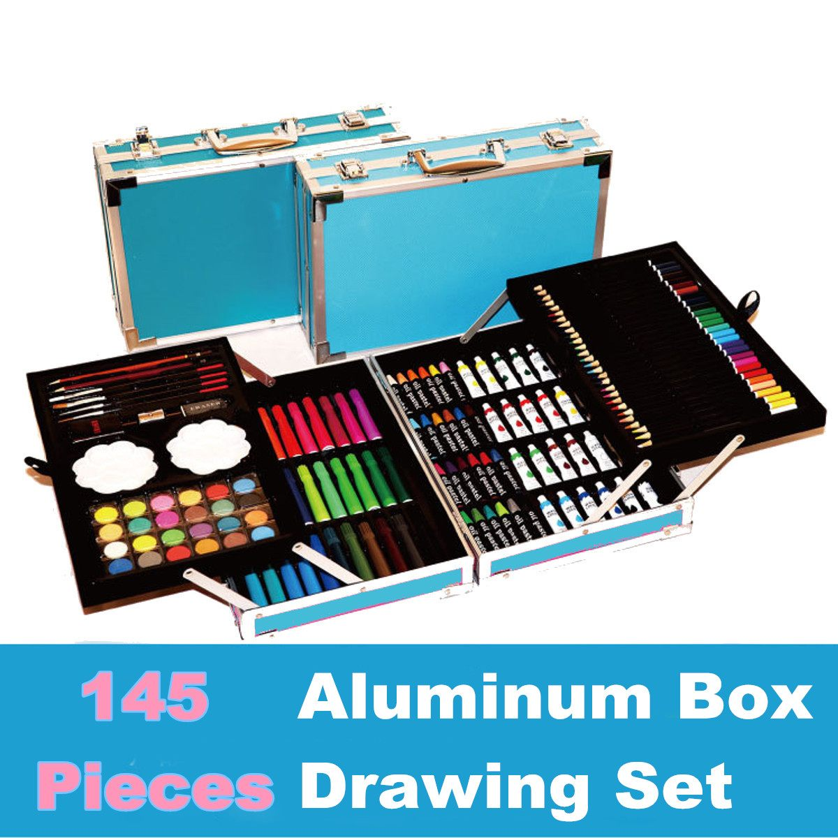 145Pcs Coloured Pencils Sets Color Art Professional Sketch ...