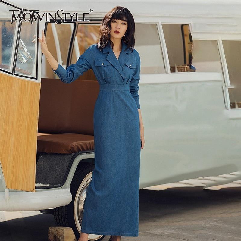 TWOTWINSTYLE Vintage Solid Women Dress Lapel High Waist Long Sleeeve Slim Ankle Length Denim Dresses Female Fashion Spring 2020