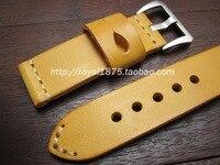 22mm 24mm man watch bracelet belt yellow watchbands high quality Italian cowhide strap watch band watch accessories wristband