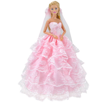 One Pcs 2019 Princess Wedding Dress Party Gown For Barbie Doll Fashion Design Outfit Best Gift For Girl best girl toys 2017