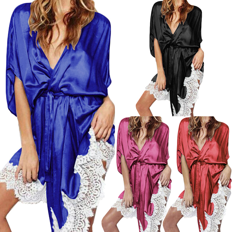 UK Mens Satin Silk Kimono Wrap Night Gown Pajamas Pjs Loungewear Bathrobe S-2XL