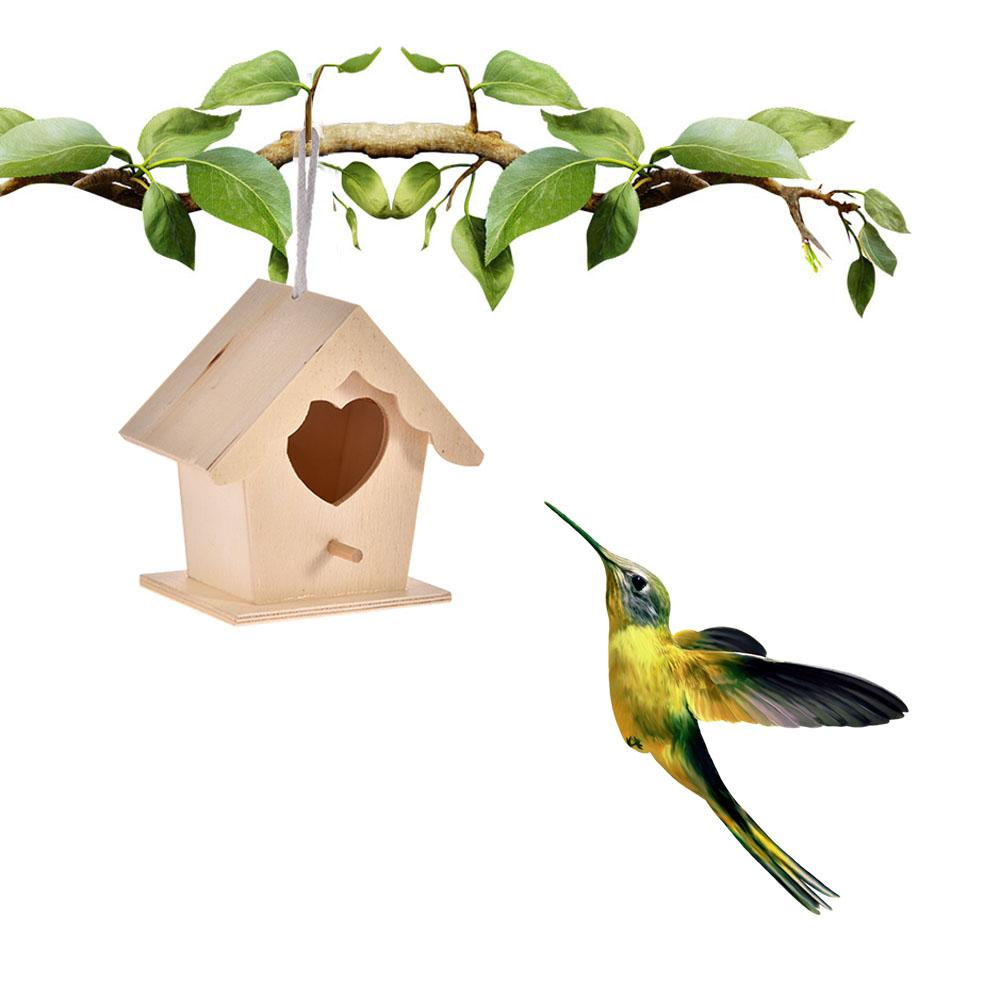Bird Cages & Nests Two Layers Hanging Nest Durable Diy Heart Shape Cabin Design Aspen Wood Bird Cage Easy Install Parrot Home Garden Outdoor Craft