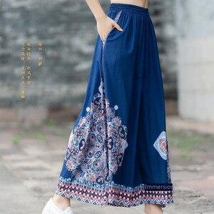 #0424 Summer High Waist Vintage Wide Leg Pants For Women Oversize Loose Thin Retro Side Stripe Floral Printed Indie Folk Blue