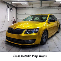 Metallic gloss gold Vinyl Car Wrap Styling Glossy Candy cover with Air Free full car Covering FOIL Film 5ft X 65ft/Roll