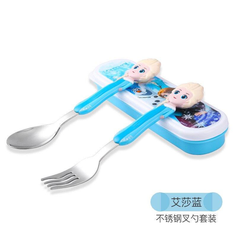 Stainless Steel Baby Eating Training Spoon Cartoon Pattern Baby Practice Spoon