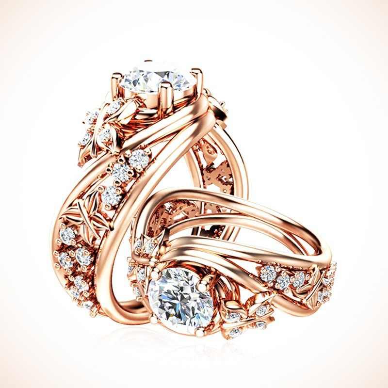 14 K Rose Gold Sapphire Elegant แหวนอัญมณี Bague Etoile Anillos De Bizuteria Diamante แหวนเครื่องประดับหยก Bizuterias