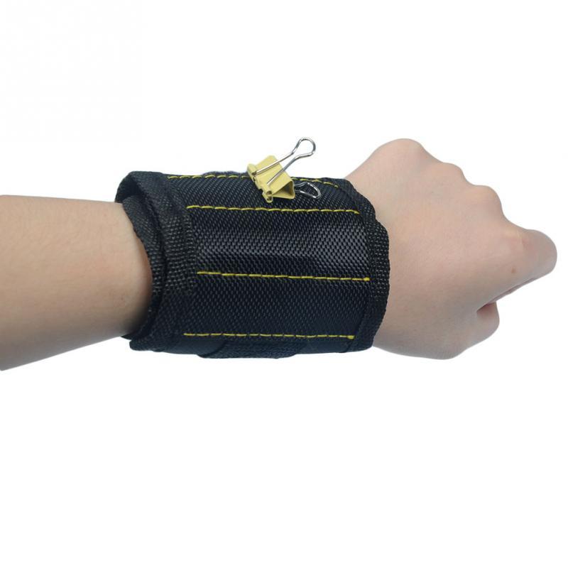 3 Grid Magnetic Wristband Portable Tool Bag Electrician Wrist Tool Belt Screws Nails Drill Bits Holder Repair Tools 1680D Oxford