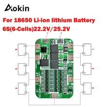 6S 15A 24V PCB BMS הגנת לוח עבור 6 חבילה 18650 ליתיום ליתיום סוללה תא מודול diy קיט