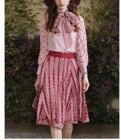 Видеть оранжевый ручной вышивкой кружевная юбка комплект милая девушка комплект из двух предметов Розовая Шифоновая летняя блуза топ кост