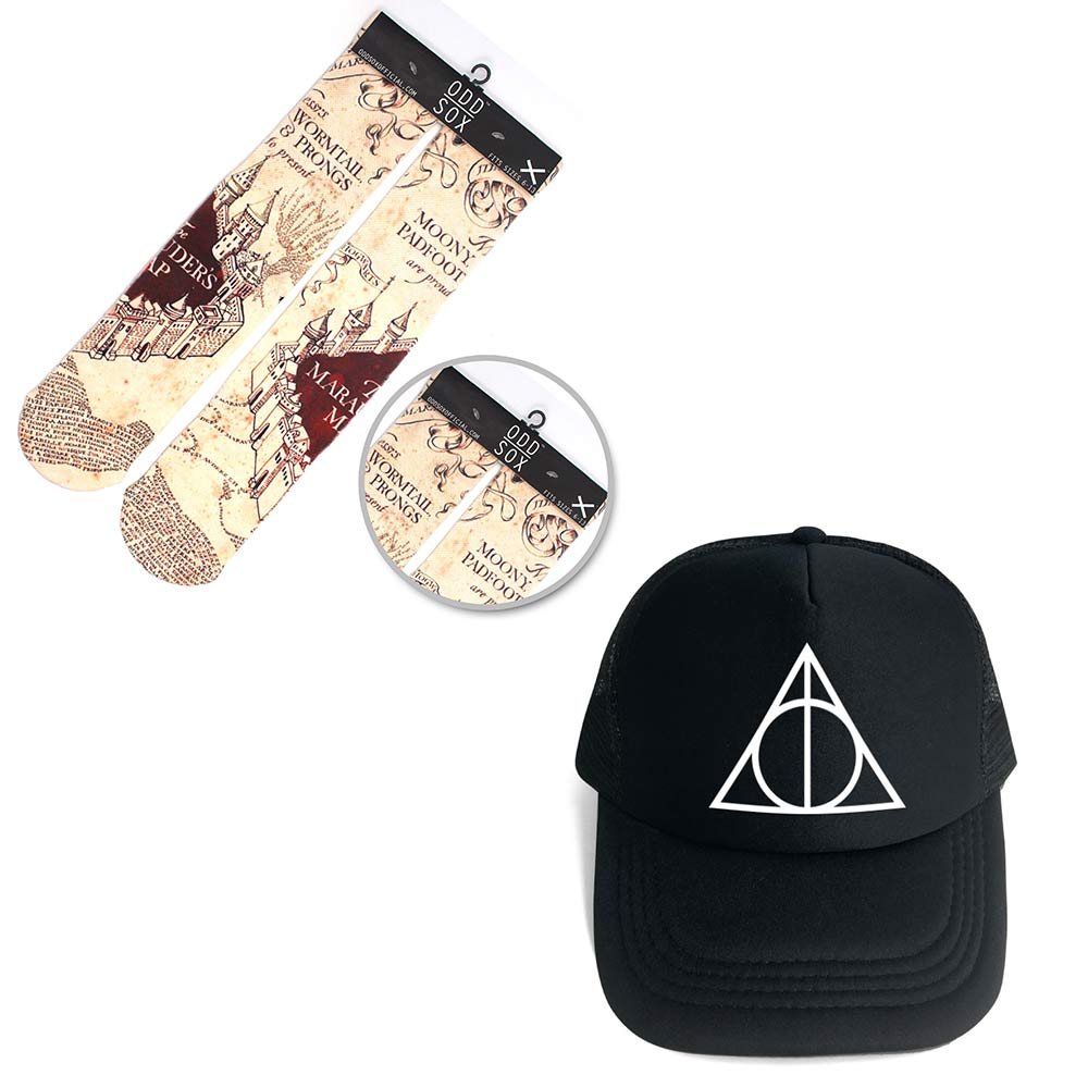 OHCOMICS Harri Potter Hogwarts/Deathly Hallows Harry Baseball Cap+Socks Hat Peaked Cap Stockings Tight Costume Accessories Sets