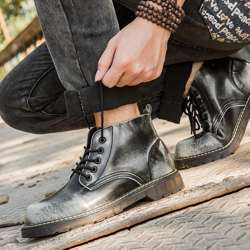Cuir Martin Hommes Noir Vintage gray Mode Bottes Casual Non Chaussures 2018 38 Mâle Les 47 Black Court brown slip Style Tous Automne Véritable En Iqftt4