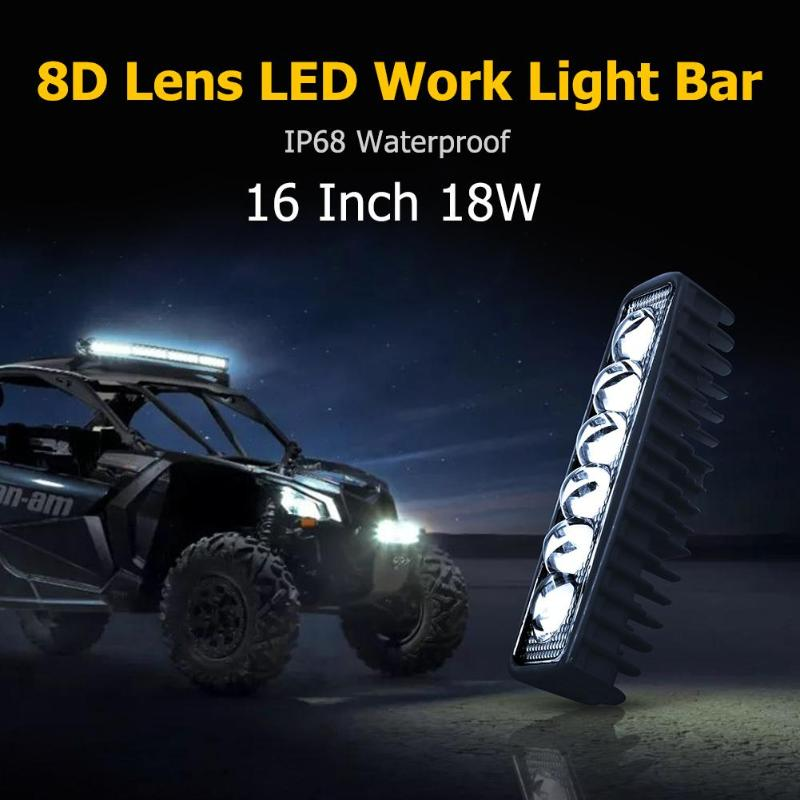 <font><b>16</b></font> Inch 18W 8D Lens <font><b>LED</b></font> <font><b>Work</b></font> <font><b>Light</b></font> Bar IP68 Waterproof Offroad Truck SUV Spot Flood Beam Driving Lamp <font><b>Light</b></font> Bar/<font><b>Work</b></font> <font><b>Light</b></font> image