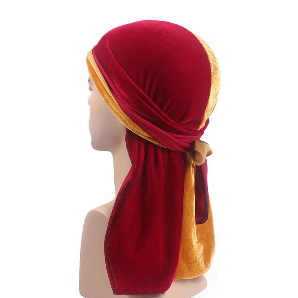 Унисекс для женщин и мужчин бархатные банданы тюрбан шляпы парики Doo дюраг Байкер повязка на голову длинный хвост Пиратская шляпа Головной убор