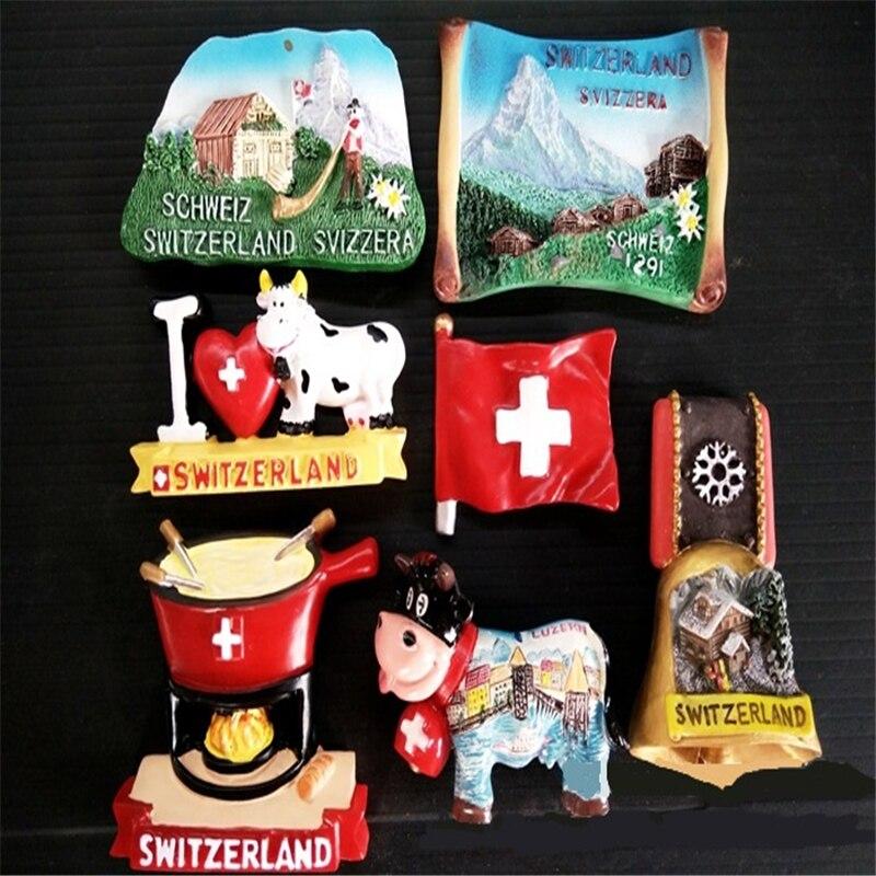 Lychee Beautiful Swizerland Fridge Magnet 3D Landscape Refrigerator Magnets Travel Souvenirs Home Decoration