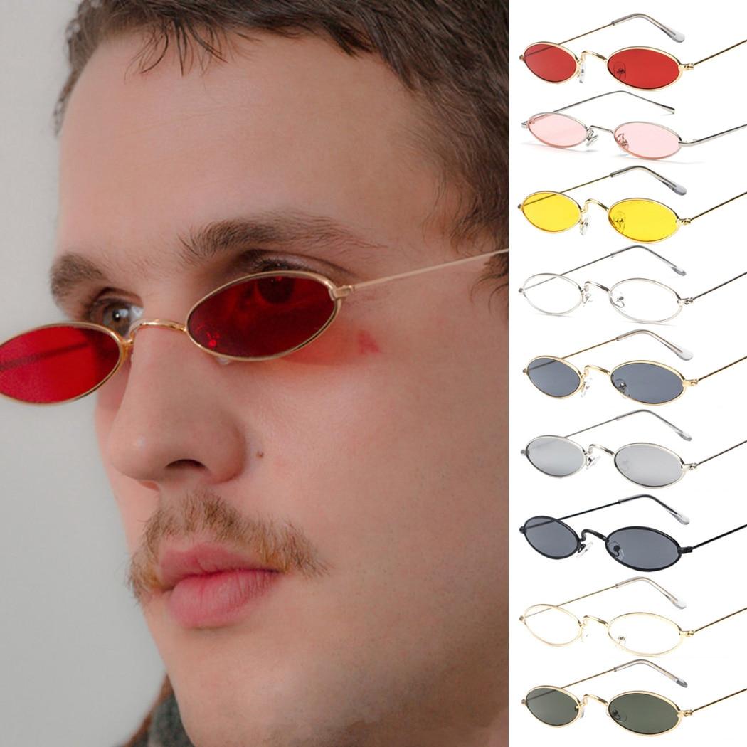 Women Men Fashion Vintage Oval Sunglasses Brand Small Slim Lens Sun Glas X