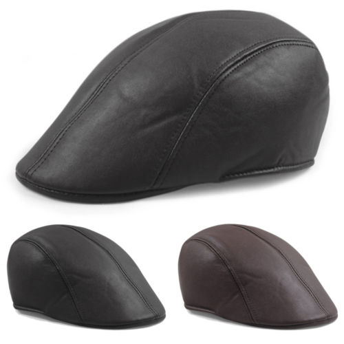 Vintage Mens Leather Flat Ivy Caps Newsboy gatsby Bonnet Cabbie Biker Beret Hat