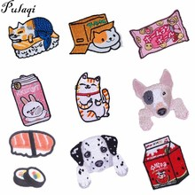 Pulaqi The new listing Cat patches sticker sew on iron-on arm badge for jeans Hat childrens clothing Cartoon animal patch Diy D
