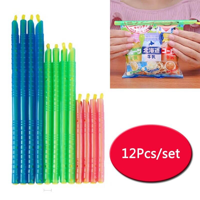 Seal Lock Sticks Food Sealed Organizer Storage Bag Clip Food Seal Stick 12Pcs Plastic Home Kitchen Gadgets Reusable