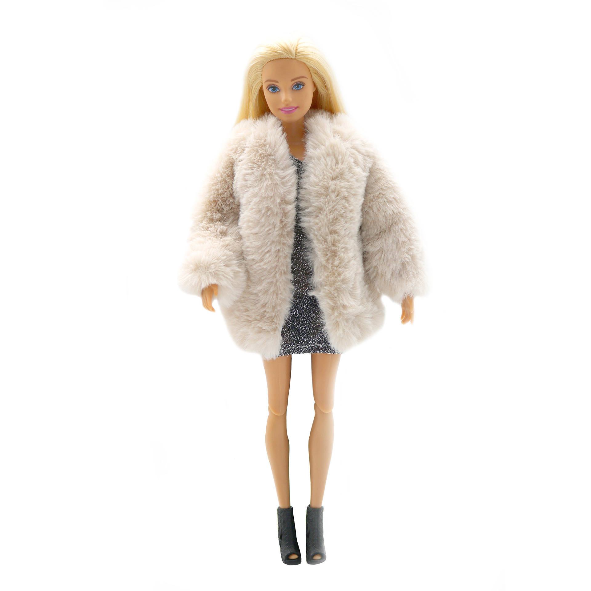 """White Fur Winter Coat Doll Clothes For 11.5/"""" Doll Outfits Parka Floral Dress Bag"""